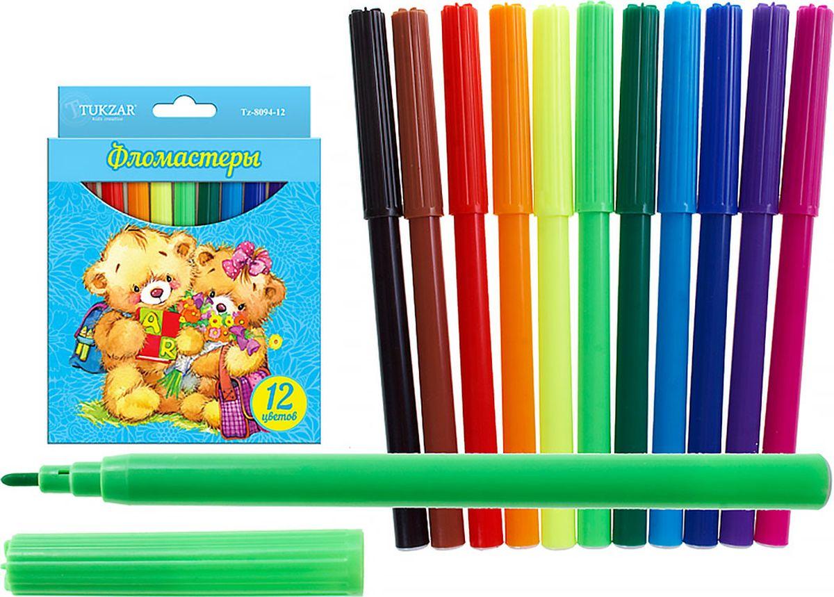 Tukzar Набор фломастеров Мишки идут в школу 12 цветовTZ 8094-12Фломастеры на водной основе для рисования по любой бумажной поверхности. Яркие цвета чернил, не токсичные. Легко смываются с рук водой с мылом, отстирываются с большинства видов ткани.