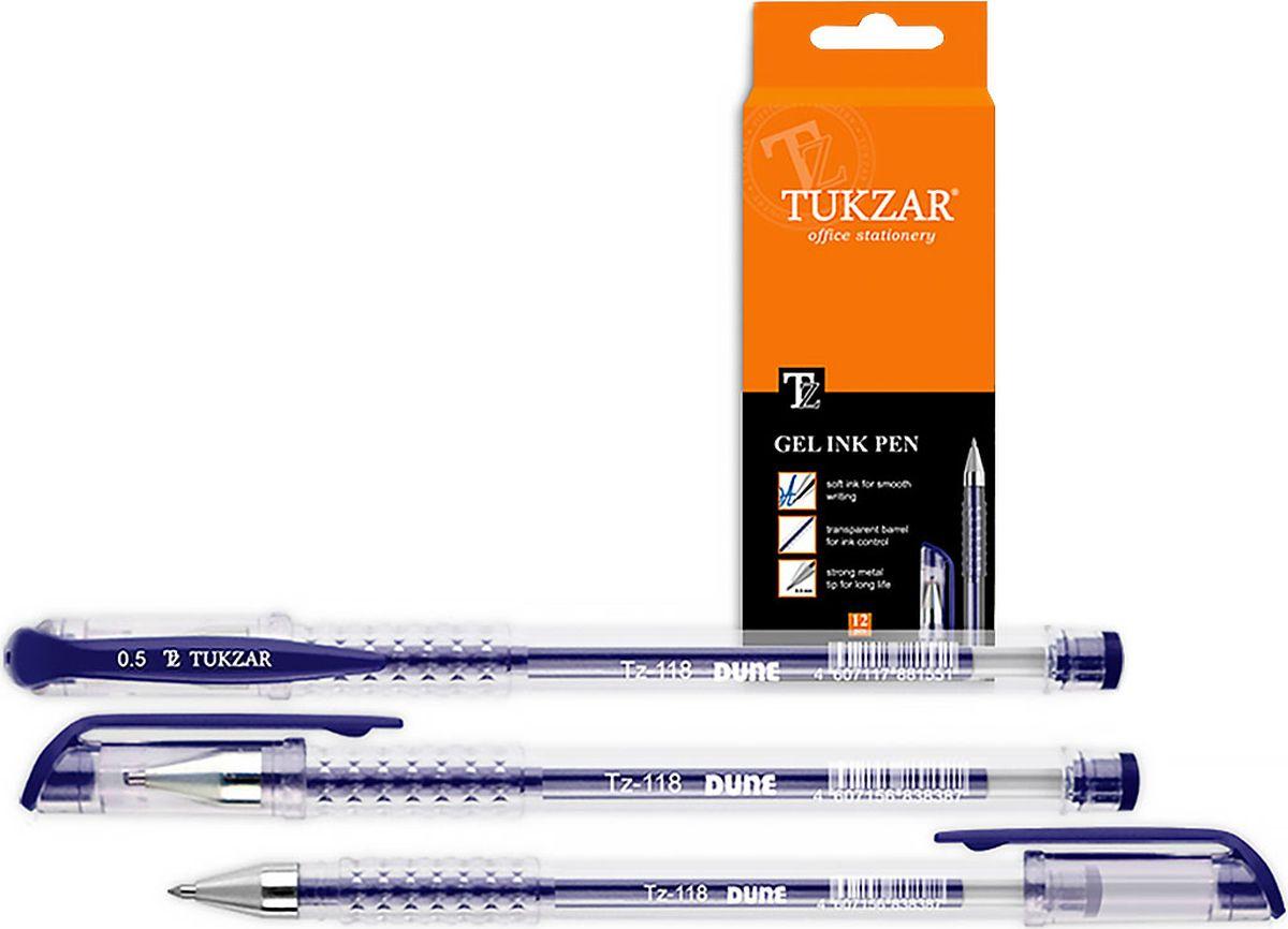 Tukzar Ручка гелевая синяя TZ-118TZ-118Гелевая ручка отличный выбор для любителей мягкого и удобного письма. Гелевая консистенция чернил равномерно распределяется по бумаге и быстро сохнет. Гладкое скольжение пишущего узла, удобный корпус и доказанная надежность делает такие ручки одними из самых популярных письменных принадлежностей среди детей и взрослых.