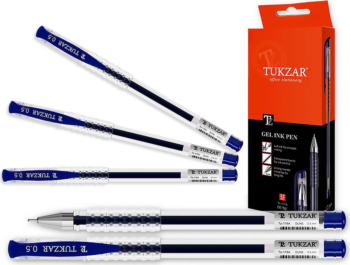 Tukzar Ручка гелевая синяя TZ-118 ATZ-118 AГелевая ручка отличный выбор для любителей мягкого и удобного письма. Гелевая консистенция чернил равномерно распределяется по бумаге и быстро сохнет. Гладкое скольжение пишущего узла, удобный корпус и доказанная надежность делает такие ручки одними из самых популярных письменных принадлежностей среди детей и взрослых.