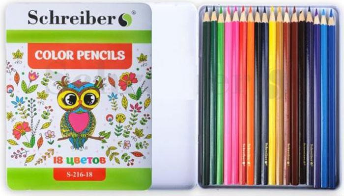 Schreiber Набор карандашей 18 цветовS 216-18Карандаши Schreiber сделаны из материала без вредных добавлений и примесей, они мягкие,замечательно ложатся на бумагу. Карандаши имеют насыщенные яркие цвета, легкозатачиваются.