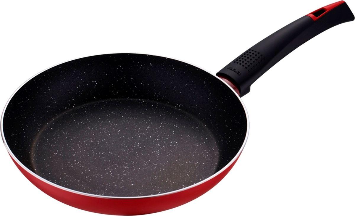 Сковорода Bergner Ultra Marble+, с антипригарным покрытием. Диаметр 28 см. 1288 RD-BG/41288 RD-BG/4Сковорода Bergner BG-1288/6-RD серии Ultra Marble+ станет выгодным кухонным приобретением для вашего дома. Сковорода изготовлена из высококачественного штампованного алюминия, который не подвергается коррозии, устойчив к царапинам, воздействию агрессивных веществ. Алюминий быстро и равномерно распределяет тепло, ускоряя процесс готовки и снижая затраты на электроэнергию, газ. Внутреннее мраморное антипригарное покрытие не изменяет вкуса и запаха пищи, не содержит PFOA. Индукционное дно обеспечивает равномерный нагрев, препятствует пригоранию пищи и позволяет готовить с меньшим количеством масла. Дизайн сковороды в стиле «мраморной крошки» прекрасно сочетается с внешним жаропрочным слоем красного цвета. Приятное на ощупь покрытие Soft Touch на рукоятке с подвесом не скользит в руках и не нагревается. Вместе со сковородой можно использовать металлические и другие принадлежности. Диаметр сковороды составляет 28 см.Компания Bergner является одним из крупнейших производителей кухонной посуды и кухонных принадлежностей. Компания выпускает широкий ассортимент продукции, начиная от стальных кастрюль и заканчивая фарфоровой посудой. Товары Bergner отличаются высоким качеством, практичностью и элегантным дизайном, который украсит интерьер любой кухни или столовой.