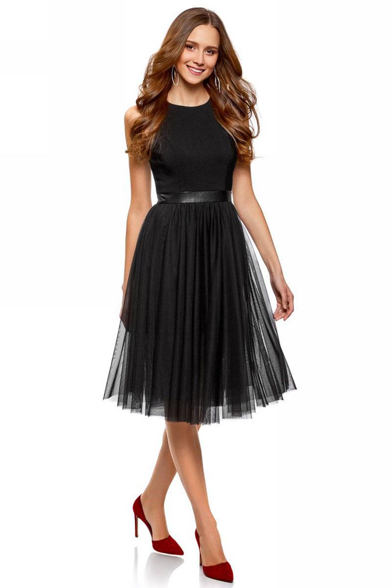 Платье oodji Ultra, цвет: черный. 12C02006/33164/2900N. Размер 42 (48-170) платье oodji collection цвет черный белый 24001104 1 35477 1079s размер l 48
