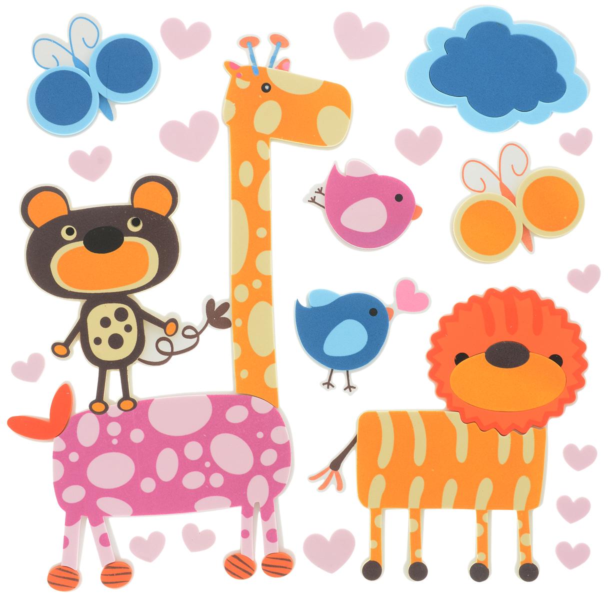 Room Decor Наклейка интерьерная Детские картинки Жираф Лев Медведь 14 шт -  Детская комната