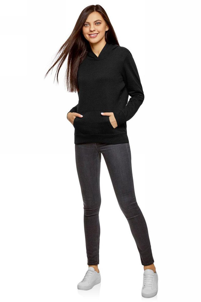 Толстовка женская oodji Ultra, цвет: черный. 15401003B/48017/2900N. Размер XL (50)