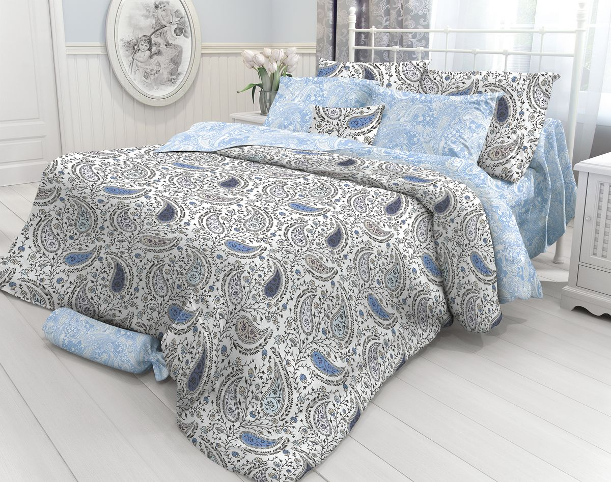 Комплект белья Verossa Orient paisley, 1,5-спальный, наволочки 50х70. 717592717592Комплект постельного белья включает в себя четыре предмета: простыню, пододеяльник и две наволочки, выполненные из перкаля. Перкаль - гладкая и прочная ткань, которая своим блеском, легкостью и гладкостью похожа на шелк, но выгодно отличается от него в цене. Перкаль практически не мнется, поэтому его можно не гладить. Ко всему прочему, он весьма практичен, так как хорошо переносит множественные стирки.