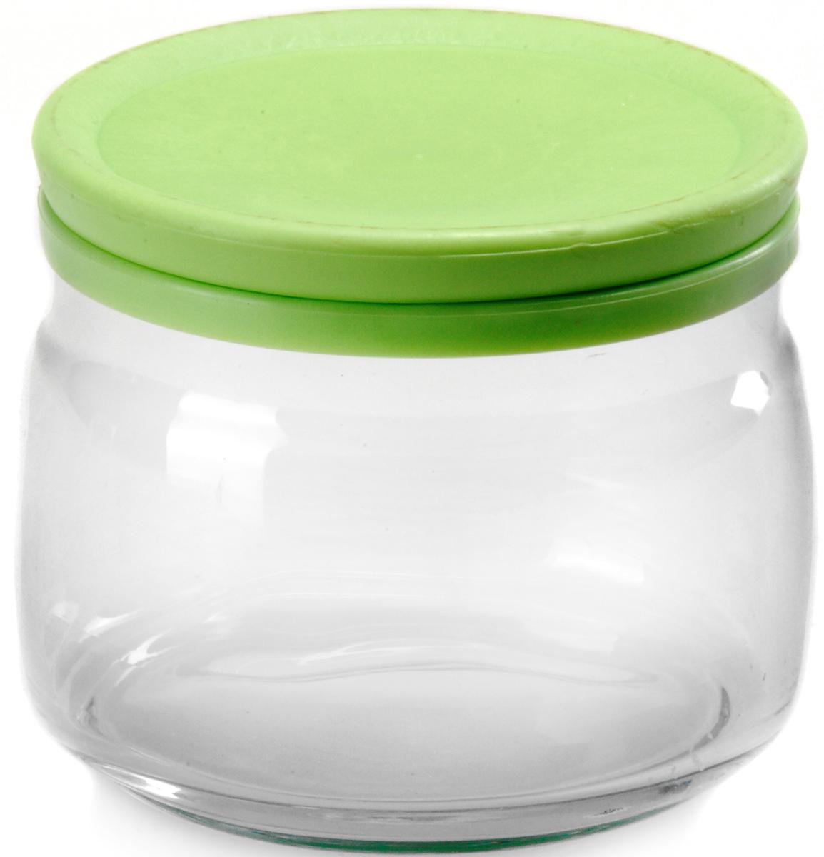 """Банка для сыпучих продуктов Pasabahce """"Cesni"""", с крышкой, цвет: зеленый, прозрачный, 420 мл 43002SLB"""