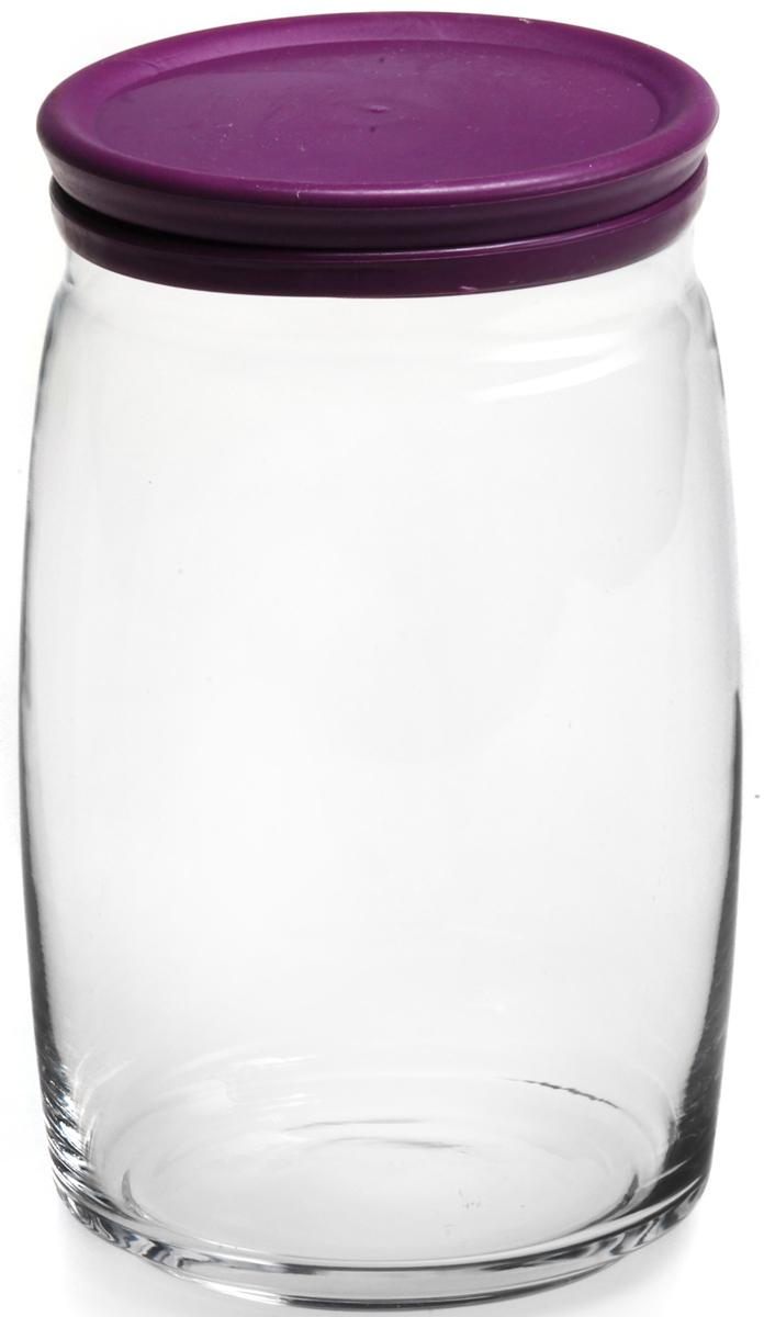 Банка для сыпучих продуктов Pasabahce Cesni, с крышкой, цвет: сиреневый, прозрачный, 1100 мл43013SLBБанка CESNI V=1,1л h=175мм прозрачное стекло с сиреневой пласт.крышкой