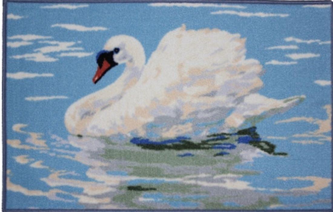 Ковер МАС Розетта. Лебедь, цвет: бело-голубой, 50 x 76 см ковер для прихожей afaw