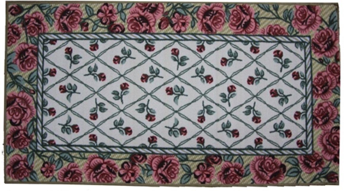 Ковер МАС Розетта. Цветы, цвет: бежевый, 80 x 150 см23633/цветы бежВлагонепроницаемый коврик на резиновой основе подойдет для любого интерьера в гостиной, ванной или прихожей. Легко моется и чистится.