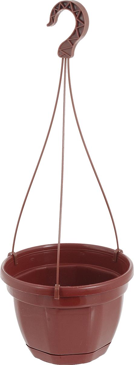 """Кашпо на подвесе """"Ника"""" изготовлено из прочного пластика. Снабжено поддоном для стока воды. Изделие прекрасно подходит для выращивания рассады, растений и цветов в домашних условиях. Оснащено подвесом. Стильный лаконичный дизайн впишется в интерьер любого помещения. Диаметр кашпо (по верхнему краю): 20 см. Высота кашпо: 14 см. Высота кашпо (с подвесом): 58 см.Объем: 3 л."""