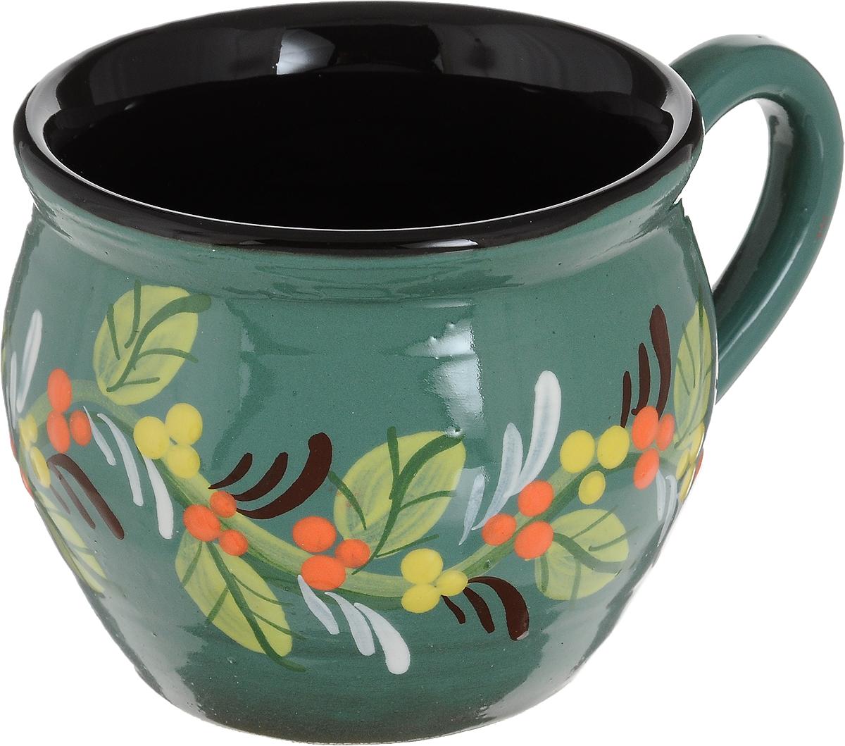 Чашка чайная Борисовская керамика Хэндмэйд, цвет: зеленый, 300 млОБЧ00003214_зеленый, веткаЧашка чайная Борисовская керамика Хэндмэйд, цвет: зеленый, 300 мл