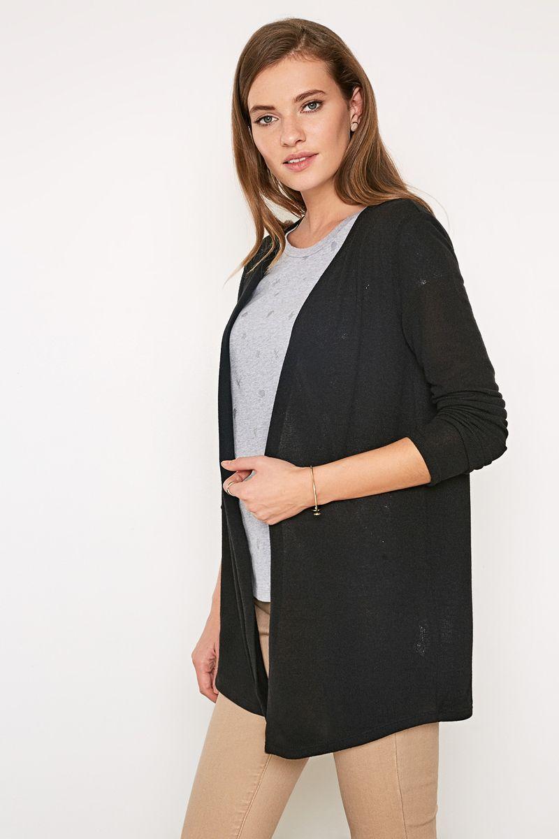Жакет женский Concept Club Rufos, цвет: черный. 10200130126_100. Размер XL (50)10200130126_100Кардиган из эластичного вязаного трикотажа с ассиметричным подолом. Модель с длинными рукавами и без застежек.