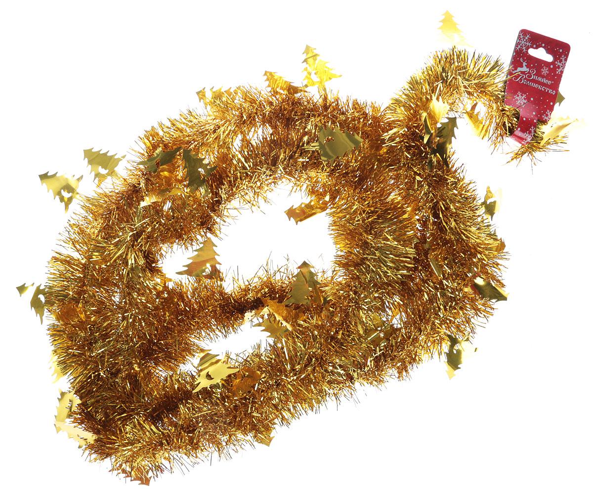 """Мишура новогодняя """"Sima-land"""", выполненная из фольги, поможет вам украсить свой дом к  предстоящим праздникам. Новогодняя елка с таким украшением станет еще наряднее.  Новогодней мишурой можно украсить все, что угодно - елку, квартиру, дачу, офис - как внутри, так  и снаружи. Можно сложить новогодние поздравления, буквы и цифры, мишурой можно украсить и  дополнить гирлянды, можно выделить дверные колонны, оплести дверные проемы."""