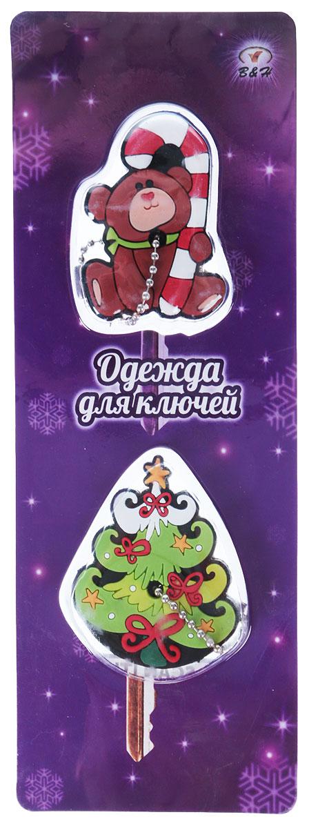 В яркой симпатичной новогодней одежде каждый ключик индивидуален - никаких долгих и  утомительных поисков на холоде подходящего ключа. В упаковке 2 различных чехла. Чехол  закрепляется с помощью цепочки, которая надежно удерживает корпус ключа в чехле.