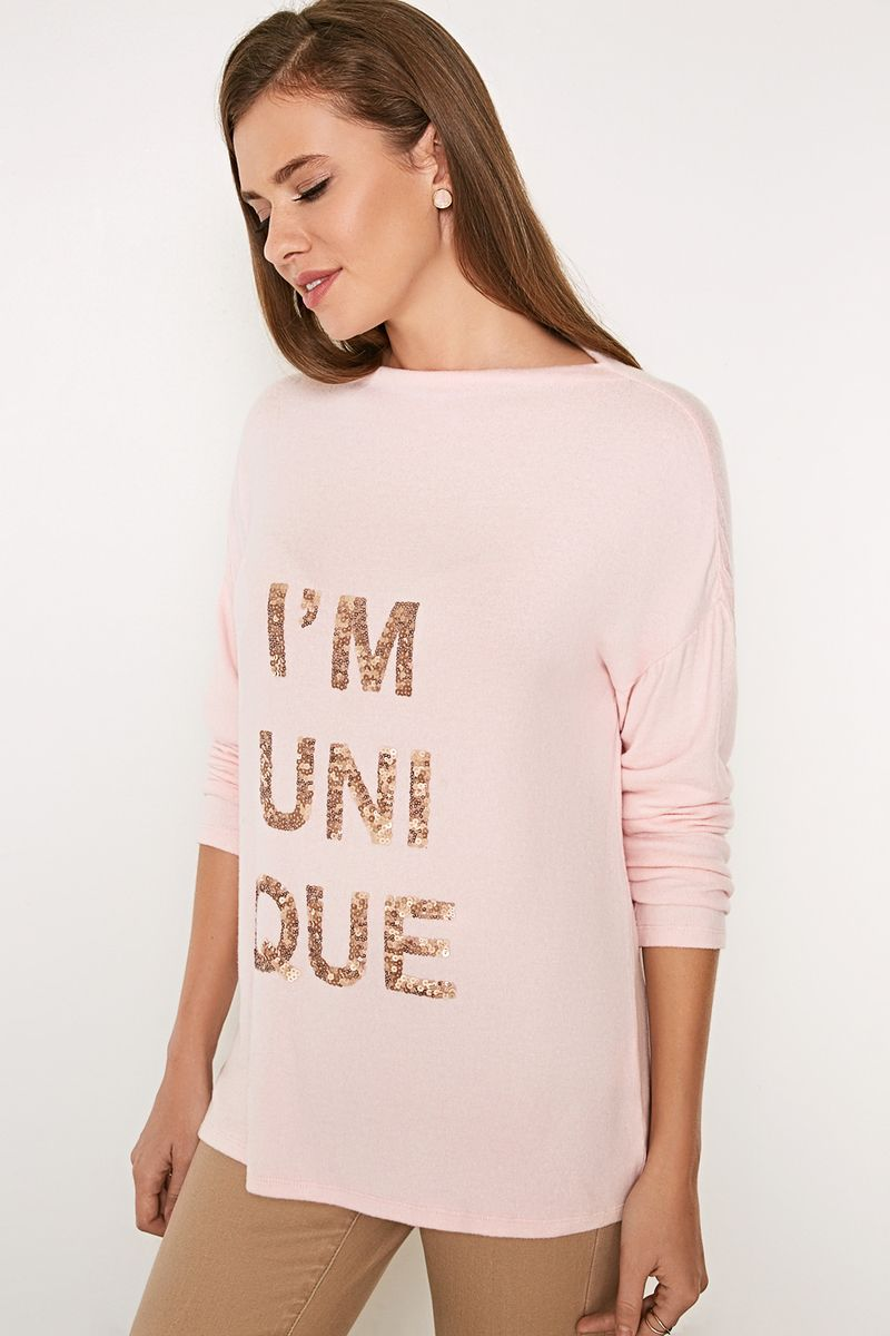 Джемпер женский Concept Club Toteme, цвет: светло-розовый. 10200100173_3400. Размер L (48)10200100173_3400