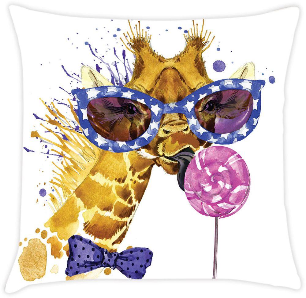 Наволочка декоративная Матренин Посад Веселый жираф, 39 х 39 см900097Готовая декоративная наволочка. Ткань - шелк. Размеры 39 х 39 см