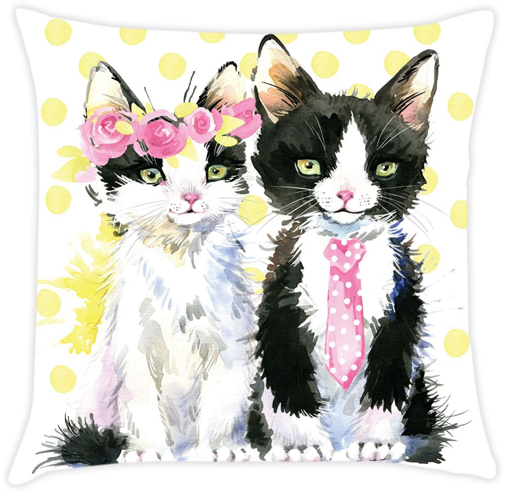 Наволочка декоративная Матренин Посад Стильные котята, 39 х 39 см900112Готовая декоративная наволочка. Ткань - шелк. Размеры 39 х 39 см