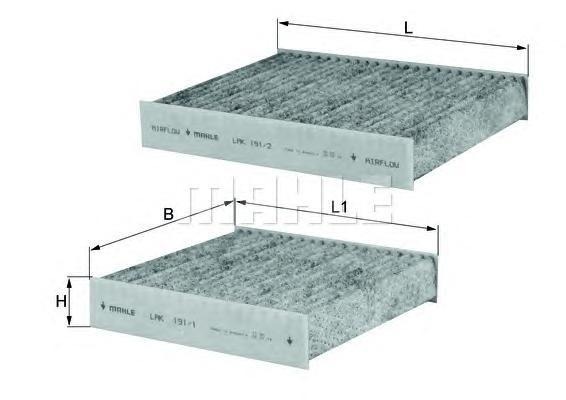 Фильтр салонный угольный MAHLE LAK191/SLAK191/S