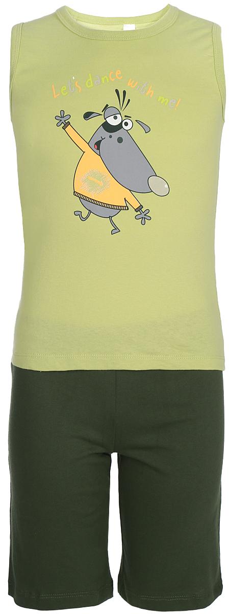Пижама для мальчика Arge Fashion, цвет: светло-зеленый. УЗТ-ПЖМ-003-1. Размер 110УЗТ-ПЖМ-003-1Пижама для мальчика Arge Fashion выполнена из натуральной хлопковой ткани. Пижама включает майку и шорты на резинке. Майка дополнена забавным рисунком. В такой пижаме ребенку будет комфортно всю ночь.