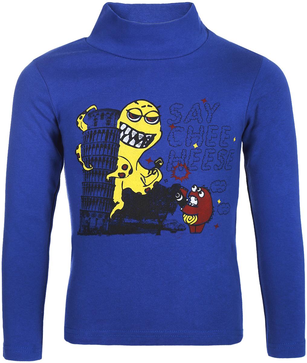 Водолазка для мальчика Arge Fashion, цвет: синий. MRM-15B-42 7003-4. Размер 128MRM-15B-42 7003-4Водолазка для мальчика Arge Fashion выполнена из 100% хлопка. Модель имеет воротник гольф и длинные рукава, на груди оформлена ярким принтом.