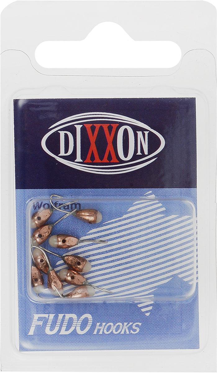Мормышка вольфрамовая Dixxon-Russia, капля с отверстием и фосфором, цвет: медный, диаметр 3 мм, 10 шт