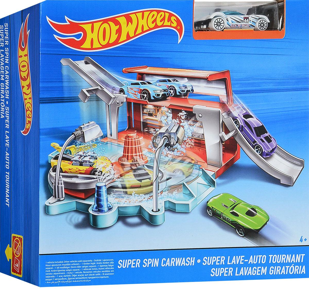 Hot Wheels City Игрушечный трек Вращающаяся автомойка машинка изменяющая цвет hot wheels
