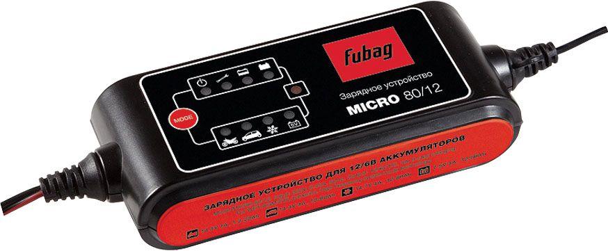 Зарядное устройство Fubag Micro 80/12268825Простое в использовании автоматическое зарядное устройство для зарядки всех основных типов аккумуляторов (AGM/GEM/WET) емкостью до 80 А/ч.9-ступенчатая интеллектуальная программа зарядки; возможность зарядки различных типов аккумуляторов (AGM, GEL, WET); компактные габариты, малый вес; различные типы подключения в комплекте (клеммы и зажимы, разъем для прикуривателя).