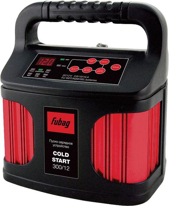 Пуско-зарядное устройство Fubag Cold Start 300/1268827Новая модель автоматического пуско-зарядного устройства COLD START300/12 обеспечивает бесперебойную работу и возможность запускааккумулятора в холодное время года, а также может быть использована дляэффективной зарядки батареи импульсным напряжением с предварительнымее восстановлением (десульфатизацией).Использование самыхсовременных технологий позволило получить это достаточно мощноеустройство (возможность зарядки аккумуляторов с емкостью до 300 Ач) вочень компактном исполнении с весом менее 1,5 кг.
