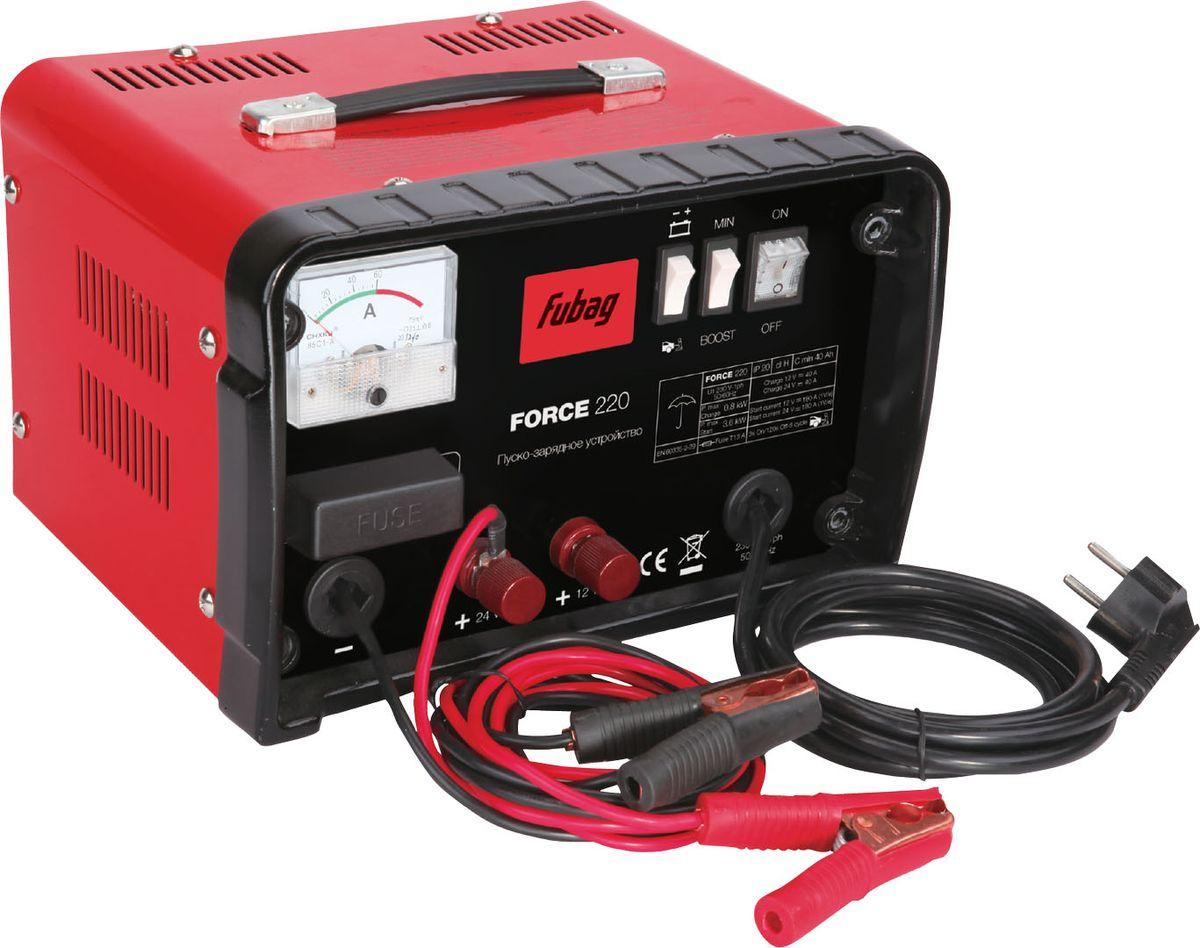 Пуско-зарядное устройство Fubag Force 22068835Традиционное пуско-зарядное устройство, безопасное и надежное, оснащенноезащитой от перегрузки и короткого замыкания. Быстро запустит двигатель приполностью разряженном аккумуляторе. Заряжает аккумуляторы емкостью до700А/ч. Характеристики:возможна работа с аккумулятораминапряжением 12 и 24 В;защита от короткого замыкания; изолированные клеммные зажимы;индикатор зарядного тока;двеступени зарядки.