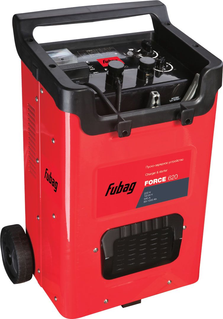 Пуско-зарядное устройство Fubag Force 62068838Мощное пуско-зарядное устройство FUBAG FORCE 620 – оптимальное решение для автосервисов, автопарков и транспортных компаний. Позволяет быстро и уверенно запустить двигатель автомобиля даже при полностью разряженном аккумуляторе, независимо от вида используемого автомобилем топлива. Производит зарядку аккумуляторных батарей напряжением 12 и 24 В, емкостью до 1000 А/ч.Наличие в устройстве встроенных защит делает FORCE 620 безопасным, надежным и долговечным в эксплуатации.Особенности:работа с аккумуляторами напряжением 12 и 24 В;защита от короткого замыкания;отсек для хранения кабелей и зажимов;индикатор зарядного тока;6 режимов работы в качестве зарядного устройства.