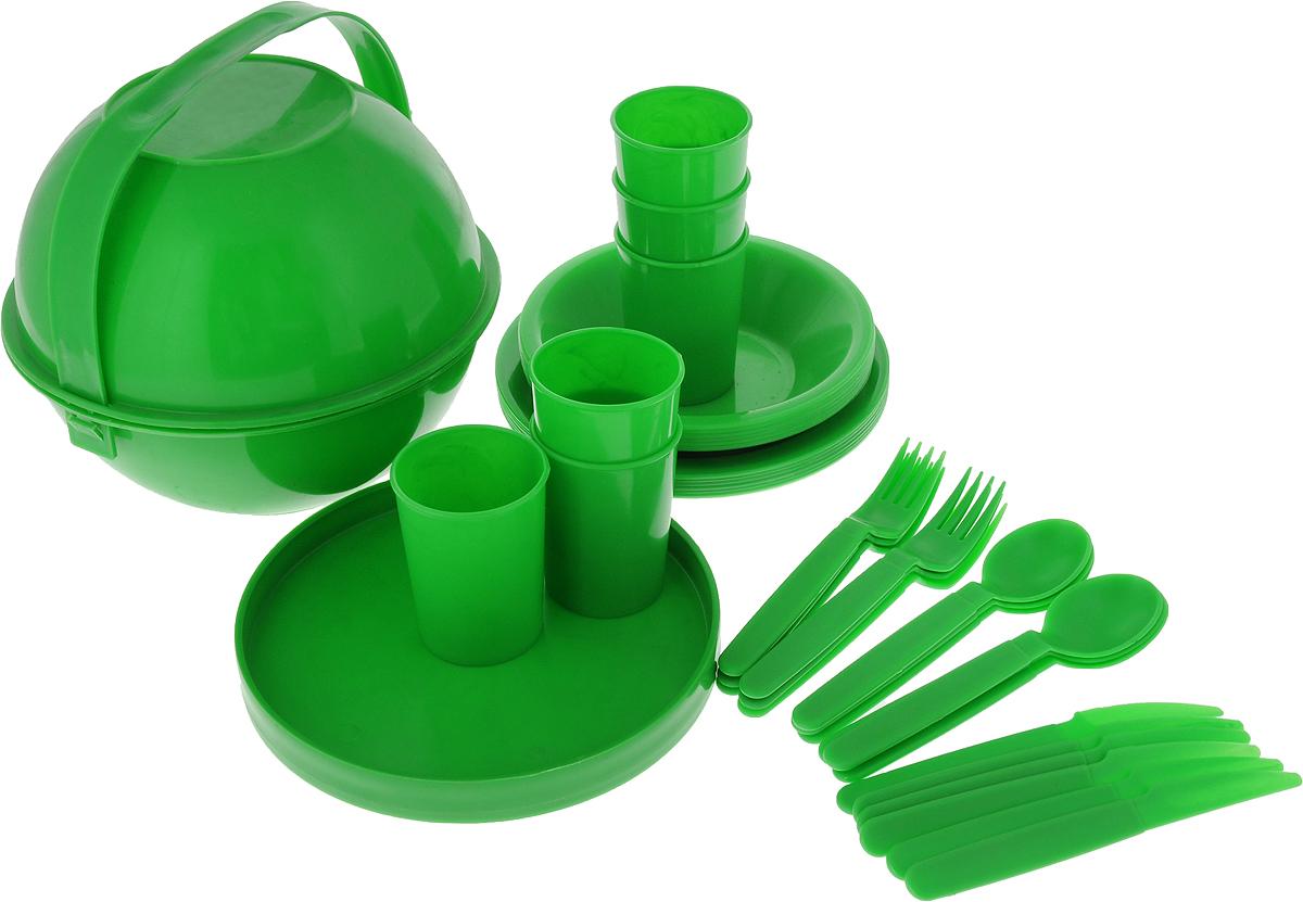 Набор пластиковой посуды Gotoff Туристический, цвет: зеленый, 39 предметов. WTC-820WTC-820_зеленыйНабор пластиковой посуды Gotoff Туристический включает 6 глубоких тарелок, 6 плоскихтарелок, 6 стаканов, поднос/разделочную доску, 2 салатника, 6 вилок, 6 ложек и 6 ножей. Изделиявыполнены из прочного пищевого полипропилена. Набор отлично подойдет как для холодных, таки для горячих блюд. Его удобно использовать на даче, брать с собой на пикники и в поездки.Пластиковая посуда не разобьется и будет служить вам долгое время. Изделия легко моются,гигиеничны, не накапливают запахов.Набор имеет удобный контейнер для хранения с ручкой для переноски. Контейнер при желанииможно использовать в качестве двух мисок. Диаметр глубокой тарелки: 18,5 см.Высота глубокой тарелки: 4 см.Диаметр плоской тарелки: 21 см.Диаметр стакана: 7 см.Высота стакана: 9 см.Диаметр подноса: 22 см.Диаметр салатника: 24,5 см.Высота салатника: 10 см.Длина вилки, ложки и ножа: 18,5 см.