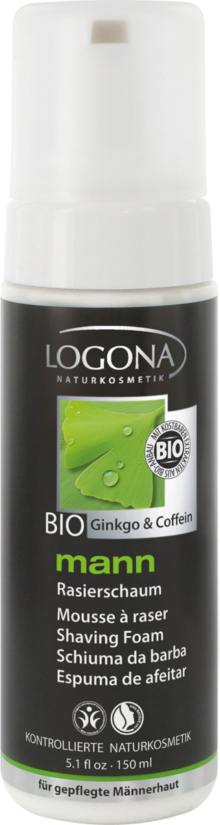 Logona Man пена для бритья, 150 мл02173Для легкого бритья. 100% натуральная пена разработана специально для эффективного и безопасного бритья. Высококачественный состав с корнем солодки защищает кожу от раздражения. Органические масла винограда, сои и миндаля, а также кофеин питает, увлажняет и тонизирует кожу.