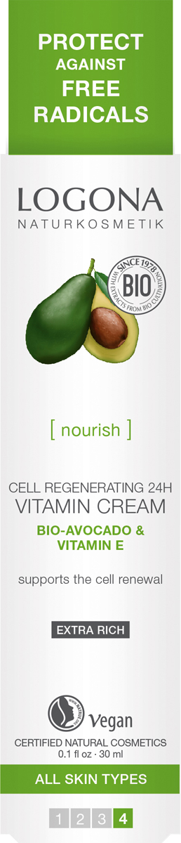 Logona Витаминный крем для клеточного восстановления кожи 24 ч с Био-Авокадо и Витамином E, 30 мл33124Максимальное питание и клеточная регенерация кожи. Подходит для всех типов кожи.100% натуральный витаминный крем с Био-Авокадо и витамином Е разработан специально для интенсивного питания и клеточного восстановления кожи лица. Органические масла виноградных косточек, авокадо, оливы и миндаля насыщают кожу ценными омега жирными кислотами. Активный фитокомплекс из масел кокоса, ши, жожоба, в сочетании с соком алоэ, витамином Е, а также экстрактами ромашки, алярии и граната обеспечивает полноценный уход за кожей: увлажняет, питает, защищает от негативного воздействия окружающей среды, разглаживает тонкие морщинки и стимулирует клеточную регенерацию.