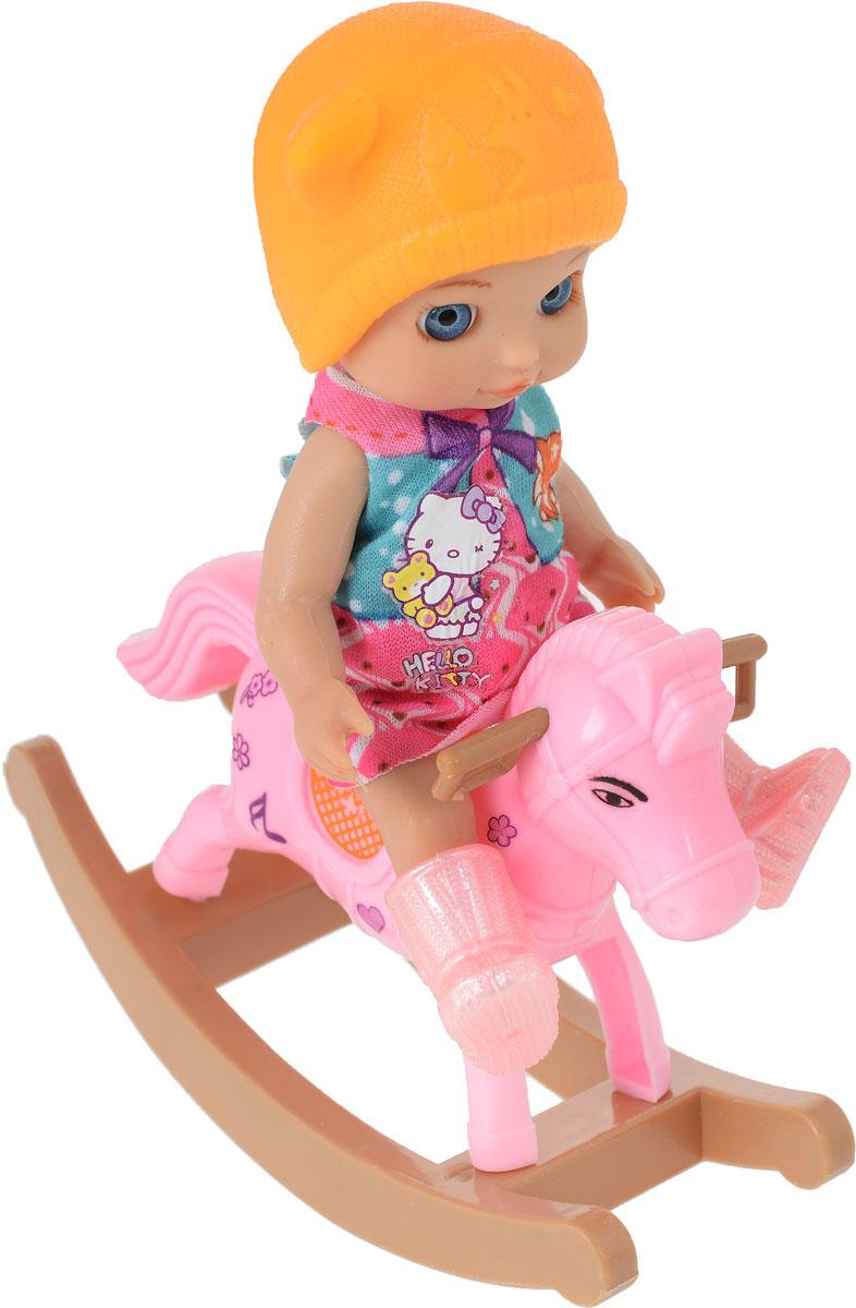 Карапуз Игровой набор с куклой Машенька на лошадке-качалке оранжевая шапочка в платье bambolina игровой набор с куклой пупс в ванночке