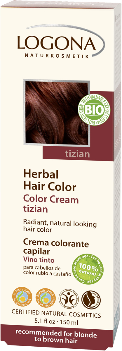Logona Крем-краска для волос Тициан, 150 мл01118Уникальное сочетание исключительно природных растительных красителей и других питательных компонентов придадут вашим волосам яркий цвет, блеск, здоровый вид и объем. Цвет «ТИЦИАН» оптимально подходит для таких волос: -средний блонд -темный блонд -каштановый