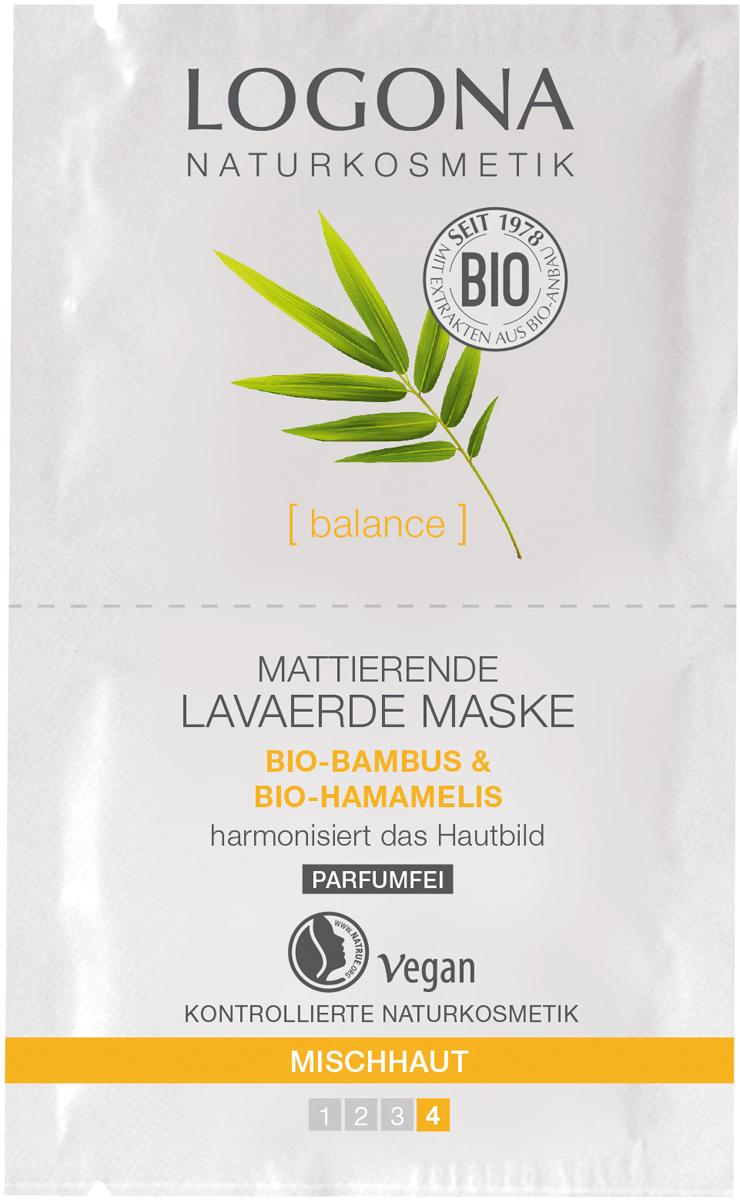 Logona Матирующая маска с Расулом, Био-Бамбуком и Био-Гамамелисом, 15 мл33020Очищает и матирует. Для смешанной кожи.100% натуральная маска с активным фитокомплексом из Био-Бамбука, Био-Гамамелиса и природной глиной Расул глубоко очищает кожу и нормализует Гидро-Липидный Баланс кожи, улучшает цвет лица.
