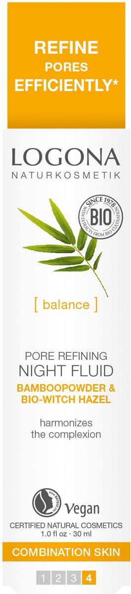 Logona Ночной флюид для сужения пор с Био-Бамбуком и Био-Гамамелисом, 30 мл33119Сужает поры. Для смешанной кожи. Нормализует природный баланс жиров кожи и гармонизирует текстуру*. С порошком бамбука и био-гамамелисом. Обеспечивает кожу всем необходимым. Сохраняет баланс жиров и влаги в коже.*доказанный эффект эфиров жожоба