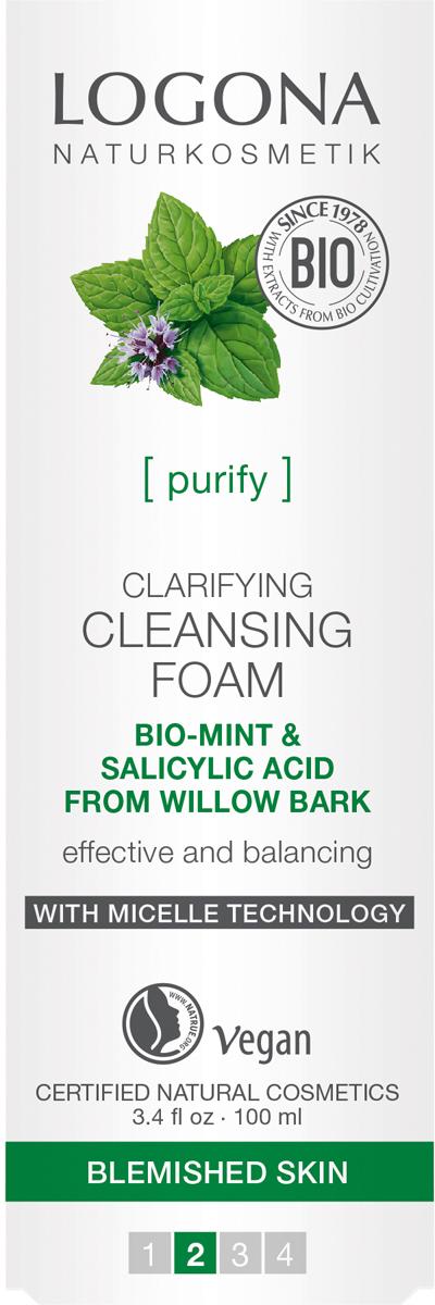 Logona Очищающая пенка для выравнивания кожи лица с Био-Мятой и Салициловой кислотой из Коры Ивы, 100 мл33104Глубокое очищение. С технологией мицелл. Для проблемной кожи.100% натуральная пенка разработана специально для глубокого очищения проблемной кожи. Благодаря инновационной технологии мицелл, пенка эффективно удаляет с кожи макияж и загрязнения, при этом сохраняет ее Гидро-Липидный баланс. Активный фитокомплекс из Био-масла Мяты Перечной, экстрактов Розмарина, Гамамелиса, Шалфея, Цемицифуги, в сочетании с Салициловой кислотой из Коры Ивы питает и увлажняет кожу лица, оказывает противовоспалительное и антибактериальное действие, удаляет жирный блеск и обеспечивает ровный здоровый цвет кожи. Подходит для кожи склонной к высыпаниям, в том числе и в подростковом периоде.