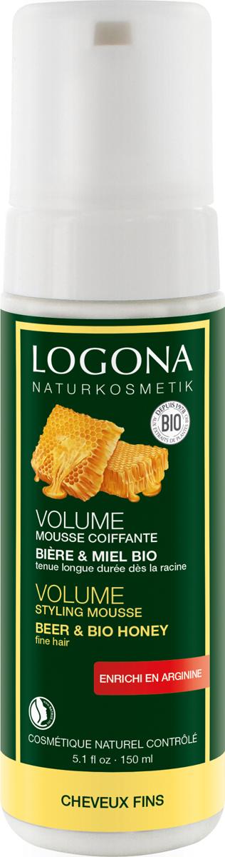 Logona Пена Объем для укладки волос с пивом и медом, 150 мл шампунь объем с пивом и медом logona 250 мл