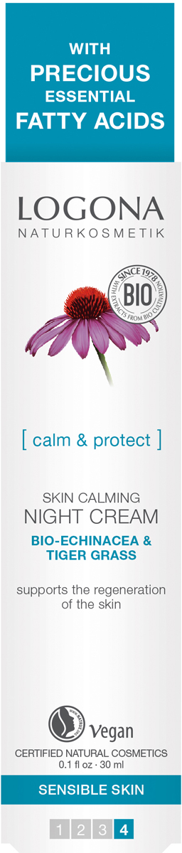 Logona Успокаивающий ночной крем с Био-Эхинацеей и Био-Центеллой, 30 мл33122Стимулирует восстановление кожи. Для чувствительной кожи . Стимулирует восстановление кожи, увлажняет и защищает её. С био-эхинацеей и центеллой. Выравнивает сухую и шершавую кожу, поддерживает её природный барьер.