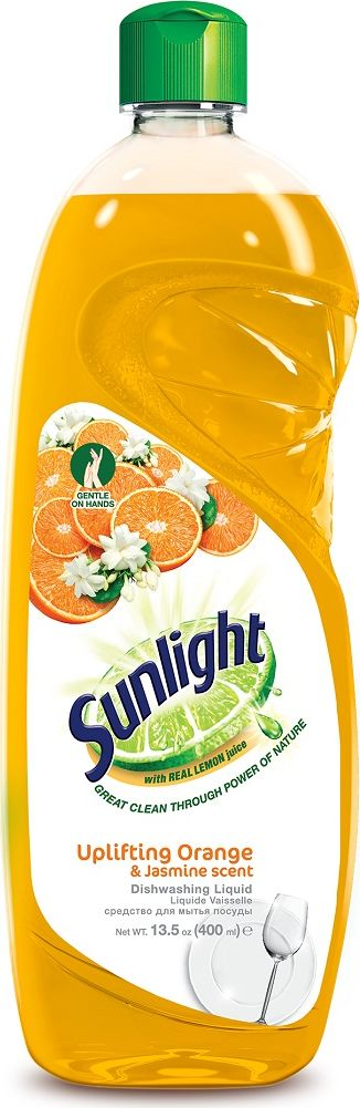 Жидкое средство для мытья посуды Sunlight, Orange, 400 мл67189865Усиленная формула Sunlight имеет 5 преимуществ:Содержит натуральный экстракт лимона.Удаляет жир одним взмахом губки.Эффективно удаляет стойкий жир и загрязнения даже с пластиковых поверхностей, чтобы посуда была чистой, как новая.Легко смывается водой и не оставляет следов.Мягко действует без вреда для кожи рук.Не оставляет следов основных моющих компонентов.