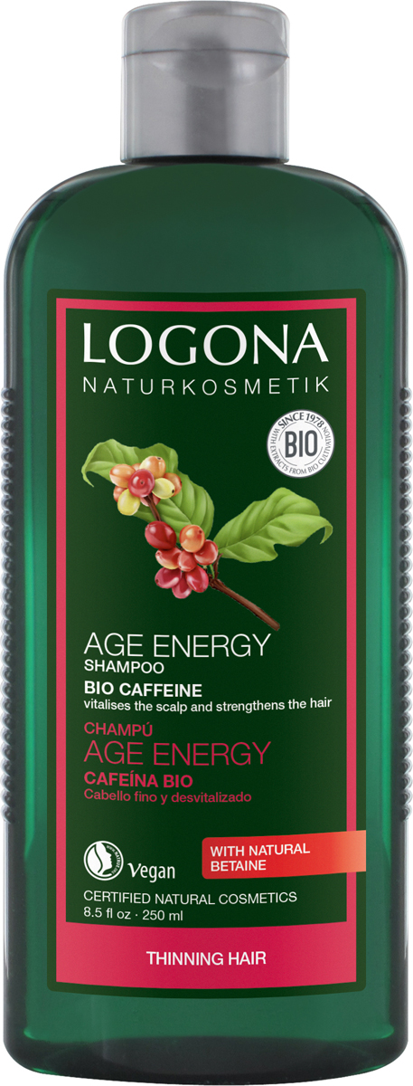 Logona Шампунь для укрепления волос с Био-Кофеином, 250 мл шампунь объем с пивом и медом logona 250 мл