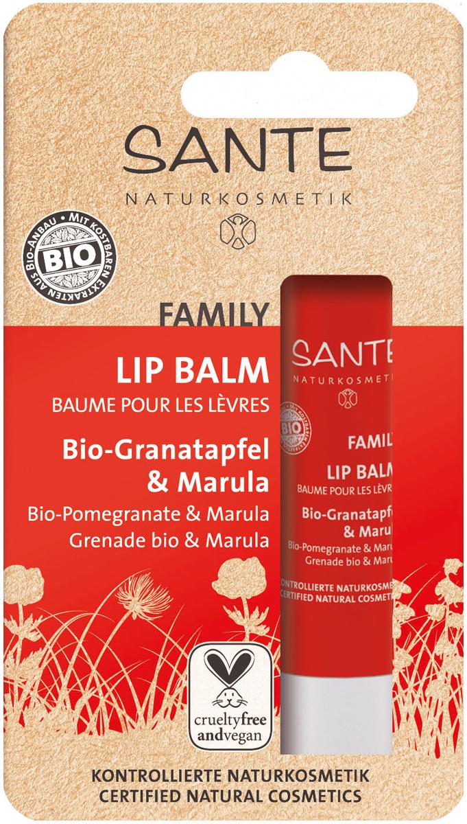 Sante Family Бальзам для губ с Био-Гранатом и Марулой, 4,5 г44004100% натуральный бальзам для губ нежно заботится о коже, защищает ее от холода. Комплекс из четырех натуральных восков- воск рисовых отрубей, воск лакового дерева, карнаубский и канделильский воски- обеспечивает максимальную защиту кожи губ от негативного воздействия окружающей среды. Масла миндаля, жожоба, марулы, какао, касторовое масло, а также экстракты розмарина и граната интенсивно питают кожу, комплексно восстанавливают ее. Рекомендован к применению у взрослых и у детей.