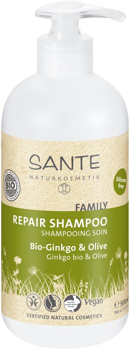Sante Family Восстанавливающий Шампунь с Био-Гинкго и Оливой, 500 мл42520Наполняет энергией уставшие, посекшиеся волосы, особенно тщательно и нежно очищает кожу головы. Ценные активные вещества из био-гинкго, био-сока алоэ вера и кондиционера для волос с инулином дарят волосам новую силу и эластичность.