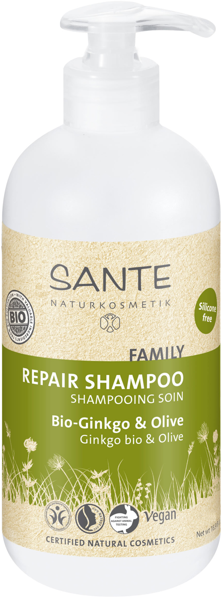 Sante Family Восстанавливающий Шампунь с Био-Гинкго и Оливой, 200 мл42508Наполняет энергией уставшие, посекшиеся волосы, особенно тщательно и нежно очищает кожу головы. Ценные активные вещества из био-гинкго, био-сока алоэ вера и кондиционера для волос с инулином дарят волосам новую силу и эластичность.