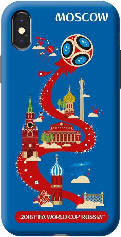 Deppa FIFA Москва чехол для Apple iPhone X, Blue103953Чехол к чемпионату мира по футболу FIFA.