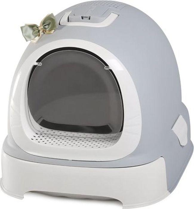 Туалет-бокс для кошек Makar Фэнтези, выдвижной поддон, фильтр, совок, пакеты, цвет: серый, 55 х 42 х 43 см автоматический туалет для животных kopfgescheit kg7010dc