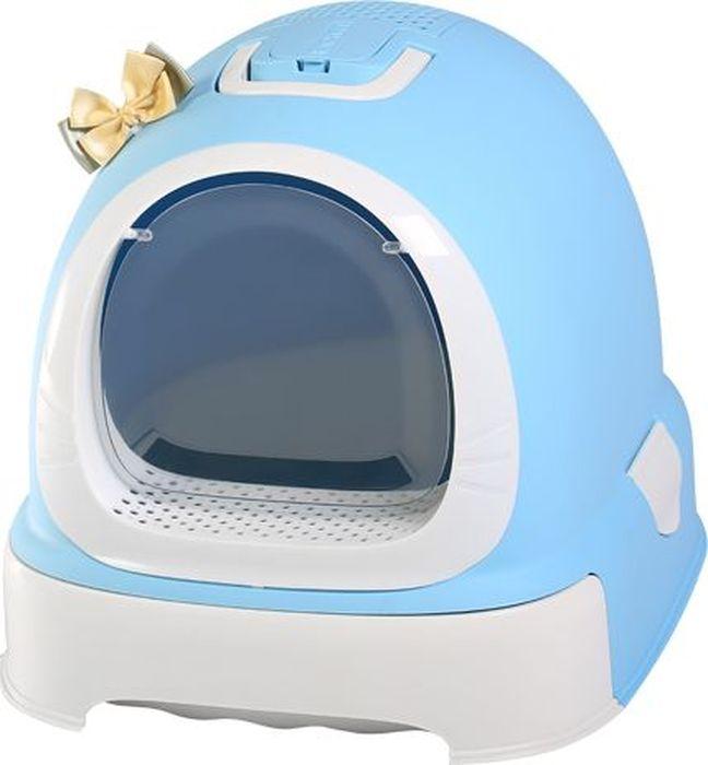Туалет-бокс для кошек Makar Фэнтези, выдвижной поддон, фильтр, совок, пакеты, цвет: голубой, 55 х 42 х 43 смМАК101Туалет-бокс, выдвижной поддон, Фэнтези 55х42х43 голубой, фильтр, совок, пакеты в комплект