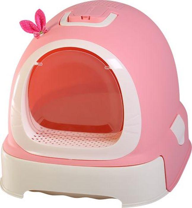 Туалет-бокс для кошек Makar  Фэнтези , выдвижной поддон, фильтр, совок, пакеты, цвет: розовый, 55 х 42 х 43 см - Наполнители и туалетные принадлежности - Лотки и совки