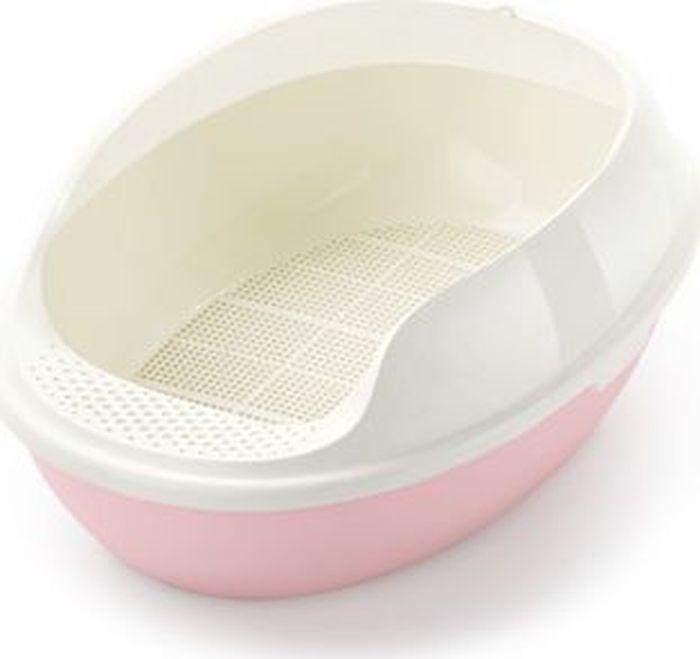 Туалет для животных  Makar , овальный, с сеткой и бортом, цвет: розовый, 50 х 38 х 20 см - Наполнители и туалетные принадлежности